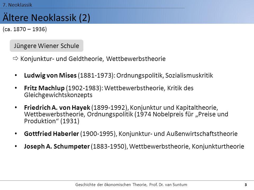 Ältere Neoklassik (2) 7. Neoklassik Geschichte der ökonomischen Theorie, Prof. Dr. van Suntum 3 Ludwig von Mises (1881-1973): Ordnungspolitik, Soziali