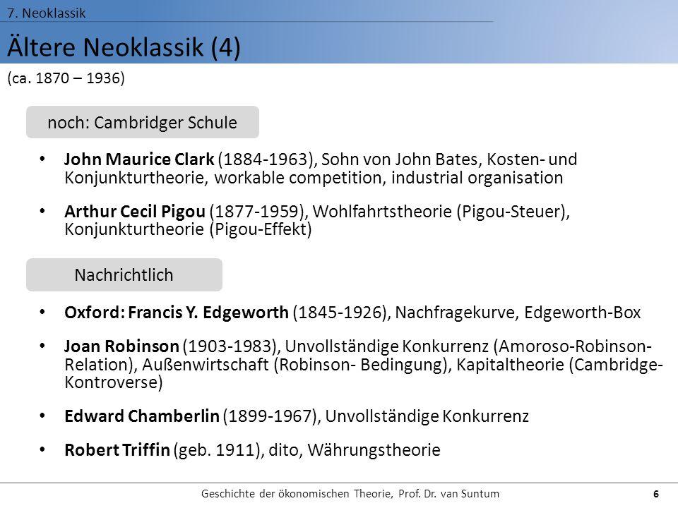 Ältere Neoklassik (4) 7. Neoklassik Geschichte der ökonomischen Theorie, Prof. Dr. van Suntum 6 John Maurice Clark (1884-1963), Sohn von John Bates, K