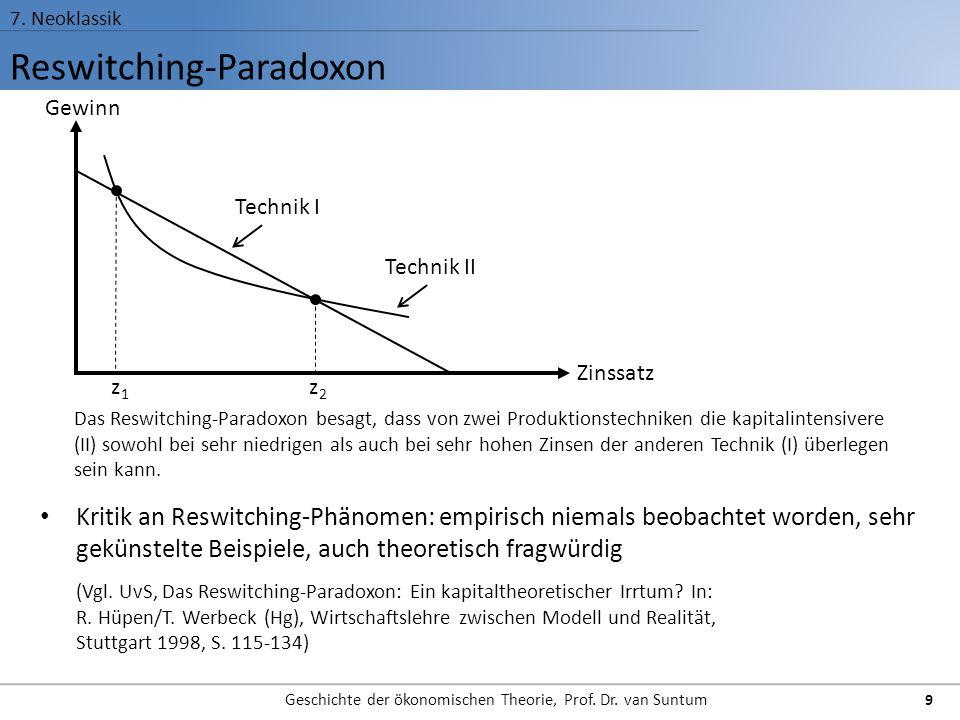 Reswitching-Paradoxon 7. Neoklassik Geschichte der ökonomischen Theorie, Prof. Dr. van Suntum 9 Kritik an Reswitching-Phänomen: empirisch niemals beob