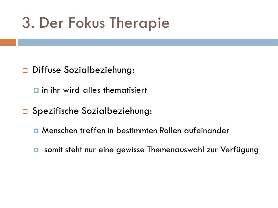 3. Der Fokus Therapie  Diffuse Sozialbeziehung:  in ihr wird alles thematisiert  Spezifische Sozialbeziehung:  Menschen treffen in bestimmten Roll