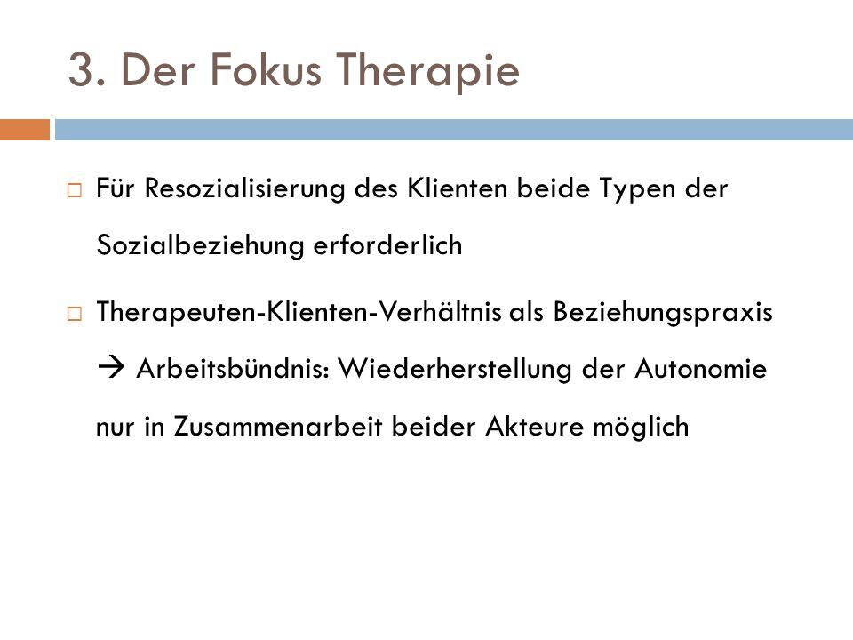 3. Der Fokus Therapie  Für Resozialisierung des Klienten beide Typen der Sozialbeziehung erforderlich  Therapeuten-Klienten-Verhältnis als Beziehung