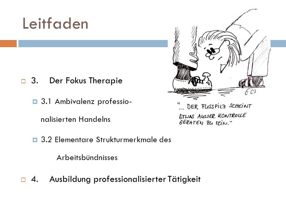Leitfaden  3. Der Fokus Therapie  3.1 Ambivalenz professio- nalisierten Handelns  3.2 Elementare Strukturmerkmale des Arbeitsbündnisses  4. Ausbil