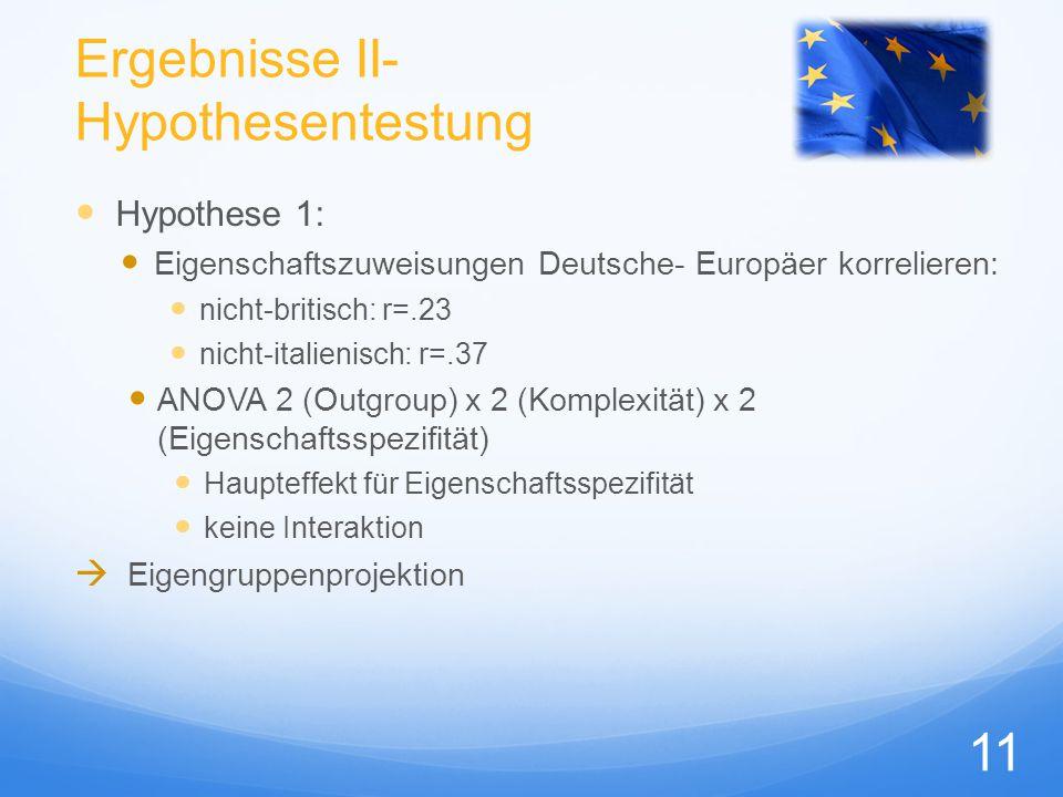 Ergebnisse II- Hypothesentestung Hypothese 1: Eigenschaftszuweisungen Deutsche- Europäer korrelieren: nicht-britisch: r=.23 nicht-italienisch: r=.37 A