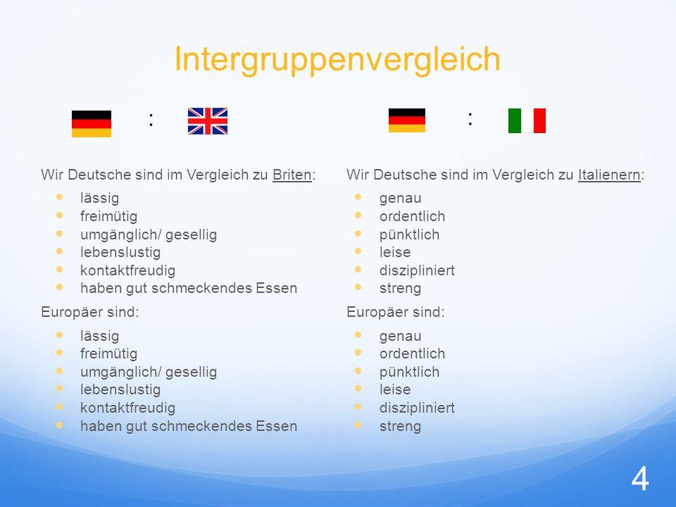 Intergruppenvergleich Wir Deutsche sind im Vergleich zu Briten: lässig freimütig umgänglich/ gesellig lebenslustig kontaktfreudig haben gut schmeckend