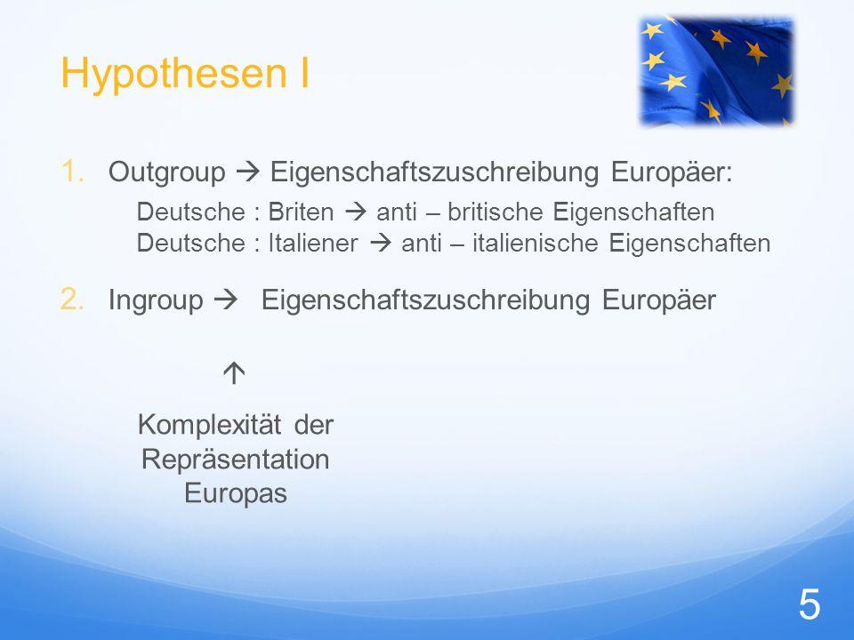 Hypothesen I 1. Outgroup  Eigenschaftszuschreibung Europäer: Deutsche : Briten  anti – britische Eigenschaften Deutsche : Italiener  anti – italien