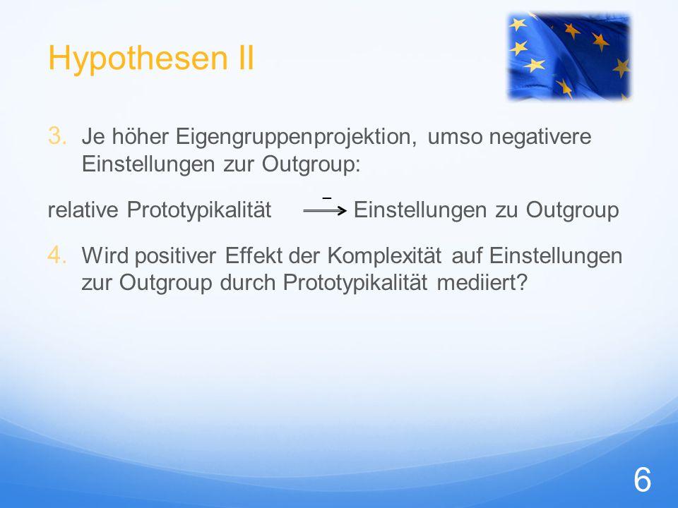 """Methode I """"Europe Survey Online-Studie zur Einstellung der Deutschen zu ihren Nachbarn und zu Europa Vpn N= 213 = 120 = 93, 18-55 Jahre (M = 27.97, SD = 14.93) heterogene Berufe/ Studienrichtungen Design (UV): 2 x 2 x 2 x 2  Outgroup Komplexität Reihenfolge Eigenschaften 7"""