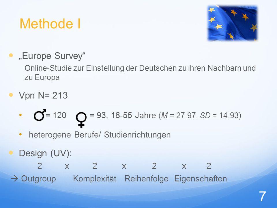 """Methode II AV 9-stufige Ratingskala ( -4 """"trifft überhaupt nicht zu bis 4 """"trifft voll zu ) : Eigenschaftszuschreibungen (Ingoup, Outgroup, übergeordnete Kategorie) Identifikation (als Deutscher, als Europäer) Einstellungen gegenüber der Outgroup (Sympathie, Wunsch nach Interaktion, Toleranz) relative Prototypikalität (Distanzmaß) 8"""