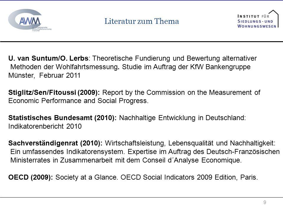 Literatur zum Thema 9 U. van Suntum/O. Lerbs: Theoretische Fundierung und Bewertung alternativer Methoden der Wohlfahrtsmessung. Studie im Auftrag der