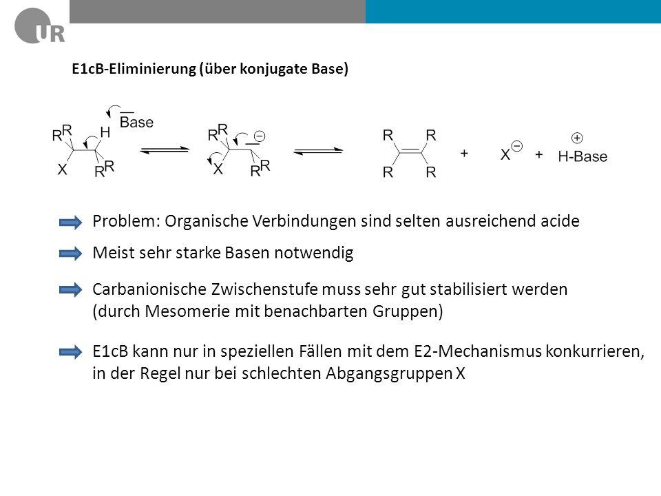 """""""Bromeliminierung mit Zink E2-Eliminierung """"mit Trick : Zink reagiert mit einem Bromsubstituent in einer Redox-Reaktion Dabei """"schiebt sich das Zn 2+ zwischen C und Br => Gute Abgangsgruppe: Br - und BrZn + Die Reaktionsfolge Bromierung von Cholesterol mit anschließender Bromeliminierung zurück zu Cholesterol wurde früher zur Reinigung von Cholesterol verwendet."""