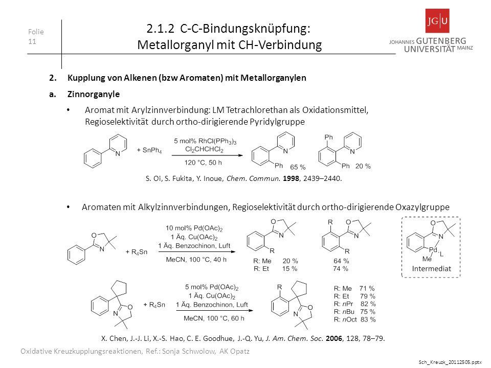 Folie 11 Oxidative Kreuzkupplungsreaktionen, Ref.: Sonja Schwolow, AK Opatz 2.1.2 C-C-Bindungsknüpfung: Metallorganyl mit CH-Verbindung 2.Kupplung von