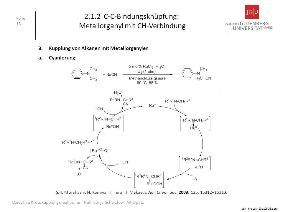 Folie 13 Oxidative Kreuzkupplungsreaktionen, Ref.: Sonja Schwolow, AK Opatz 2.1.2 C-C-Bindungsknüpfung: Metallorganyl mit CH-Verbindung 3.Kupplung von