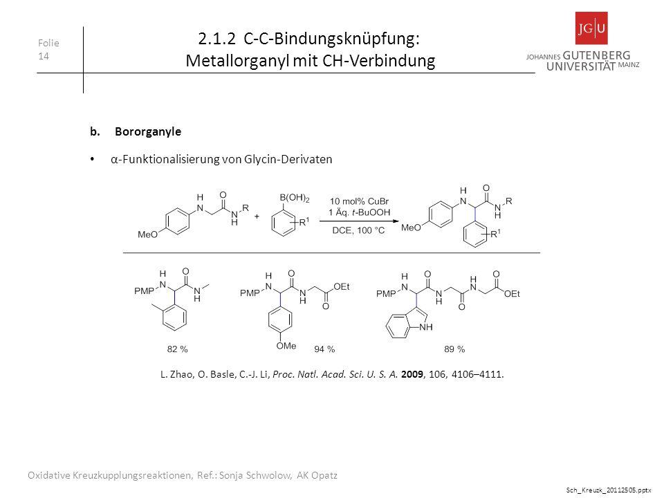 Folie 14 Oxidative Kreuzkupplungsreaktionen, Ref.: Sonja Schwolow, AK Opatz b.Bororganyle 2.1.2 C-C-Bindungsknüpfung: Metallorganyl mit CH-Verbindung
