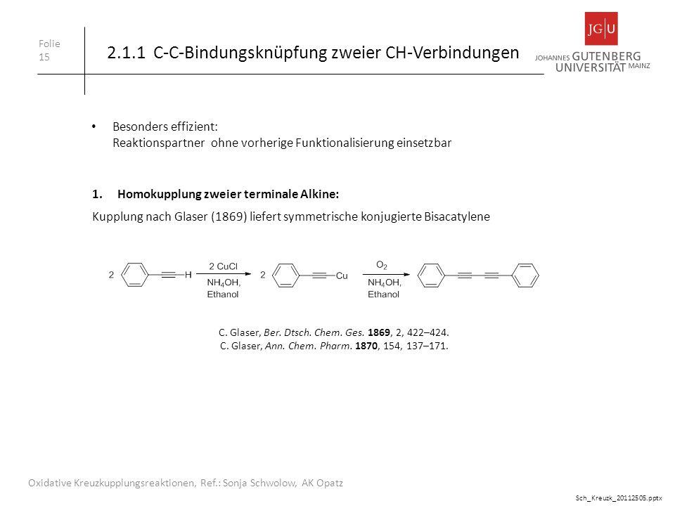 2.1.1 C-C-Bindungsknüpfung zweier CH-Verbindungen Folie 15 Oxidative Kreuzkupplungsreaktionen, Ref.: Sonja Schwolow, AK Opatz 1.Homokupplung zweier te