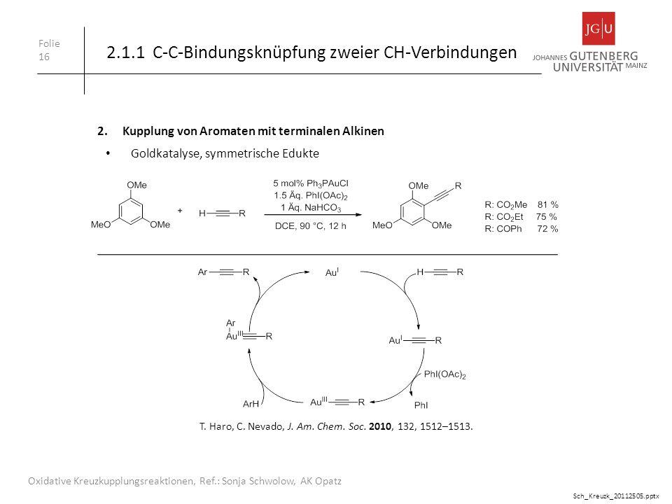 2.1.1 C-C-Bindungsknüpfung zweier CH-Verbindungen Folie 16 Oxidative Kreuzkupplungsreaktionen, Ref.: Sonja Schwolow, AK Opatz 2.Kupplung von Aromaten