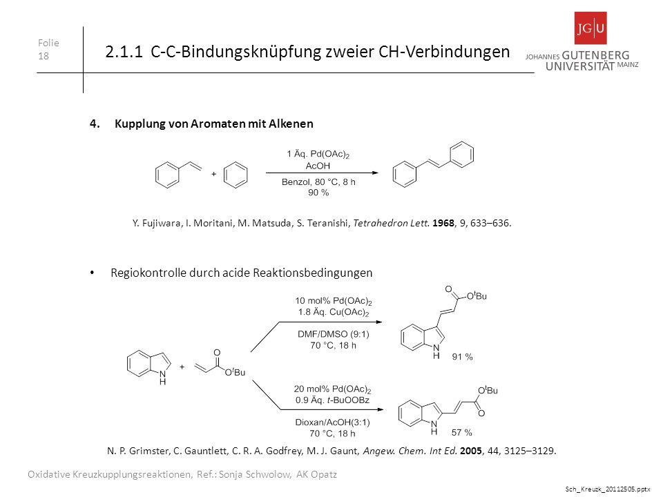 Folie 18 Oxidative Kreuzkupplungsreaktionen, Ref.: Sonja Schwolow, AK Opatz Y. Fujiwara, I. Moritani, M. Matsuda, S. Teranishi, Tetrahedron Lett. 1968