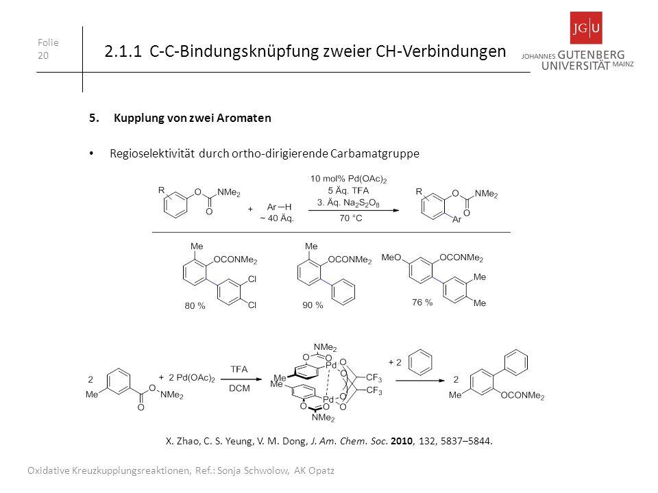 Folie 20 Oxidative Kreuzkupplungsreaktionen, Ref.: Sonja Schwolow, AK Opatz X. Zhao, C. S. Yeung, V. M. Dong, J. Am. Chem. Soc. 2010, 132, 5837–5844.