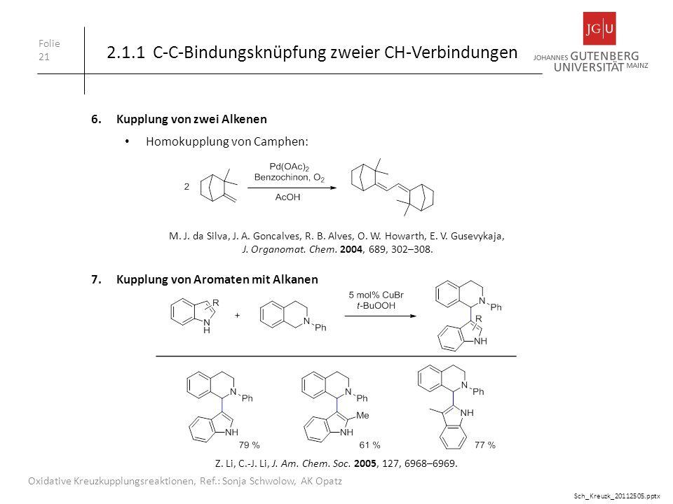 Folie 21 Oxidative Kreuzkupplungsreaktionen, Ref.: Sonja Schwolow, AK Opatz 6.Kupplung von zwei Alkenen 2.1.1 C-C-Bindungsknüpfung zweier CH-Verbindun