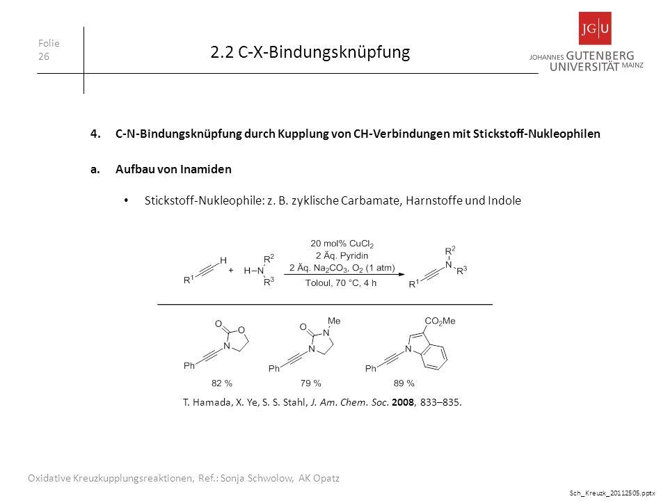 2.2 C-X-Bindungsknüpfung Folie 26 Oxidative Kreuzkupplungsreaktionen, Ref.: Sonja Schwolow, AK Opatz 4.C-N-Bindungsknüpfung durch Kupplung von CH-Verb