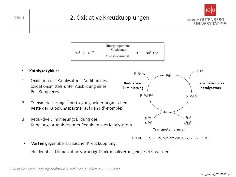 2.1.1 C-C-Bindungsknüpfung zweier CH-Verbindungen Folie 15 Oxidative Kreuzkupplungsreaktionen, Ref.: Sonja Schwolow, AK Opatz 1.Homokupplung zweier terminale Alkine: Kupplung nach Glaser (1869) liefert symmetrische konjugierte Bisacatylene Besonders effizient: Reaktionspartner ohne vorherige Funktionalisierung einsetzbar Sch_Kreuzk_20112505.pptx C.