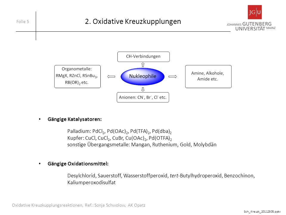 2. Oxidative Kreuzkupplungen Folie 5 Oxidative Kreuzkupplungsreaktionen, Ref.: Sonja Schwolow, AK Opatz Gängige Katalysatoren: Palladium: PdCl 2, Pd(O