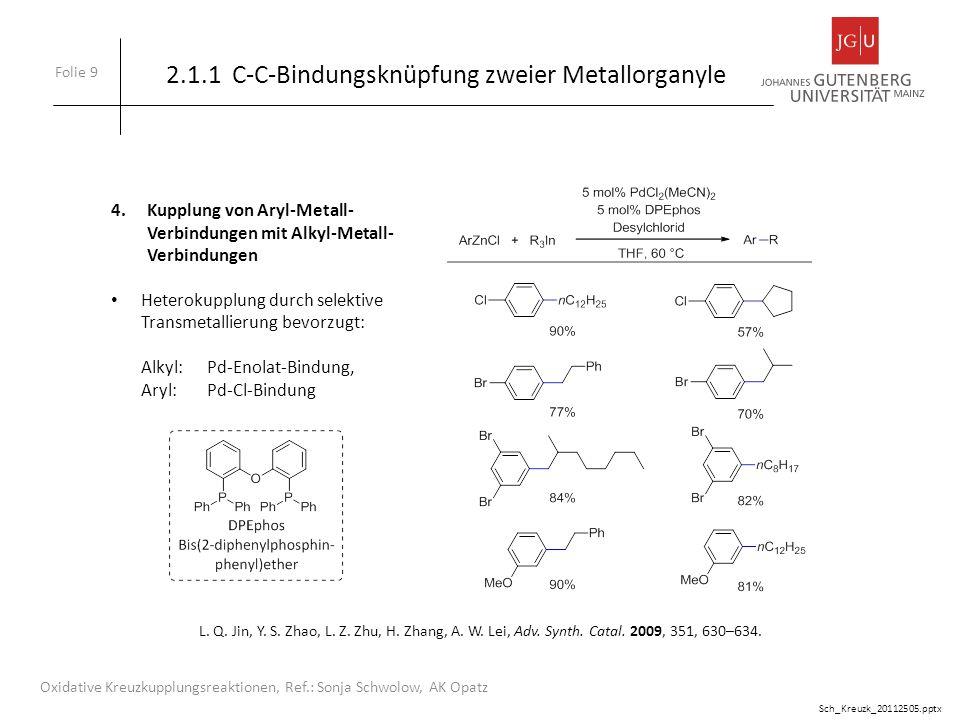 Folie 10 Oxidative Kreuzkupplungsreaktionen, Ref.: Sonja Schwolow, AK Opatz 1.Kupplung von terminalen Alkinen mit Alkyl-Metall-Verbindungen (Zinkorganyle) 2.1.2 C-C-Bindungsknüpfung: Metallorganyl mit CH-Verbindung M.
