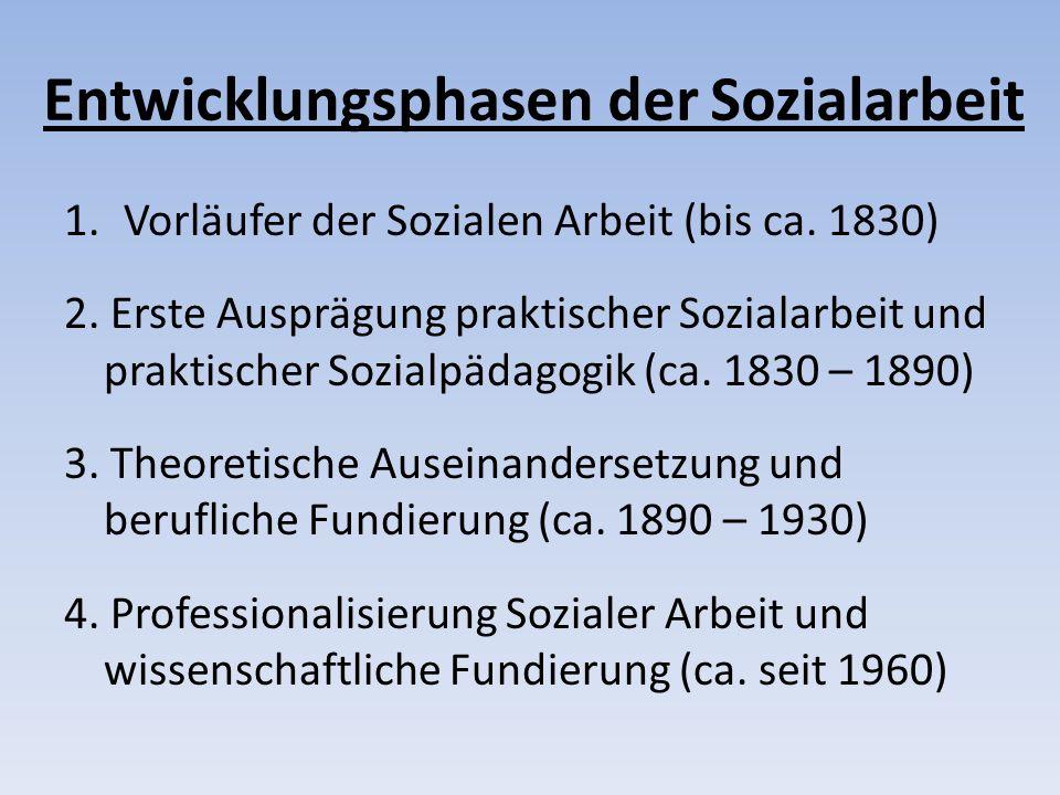 Entwicklungsphasen der Sozialarbeit 1.Vorläufer der Sozialen Arbeit (bis ca.