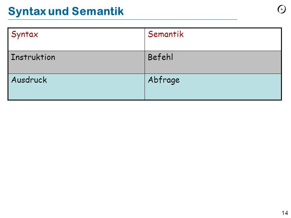 14 Syntax und Semantik SyntaxSemantik InstruktionBefehl AusdruckAbfrage