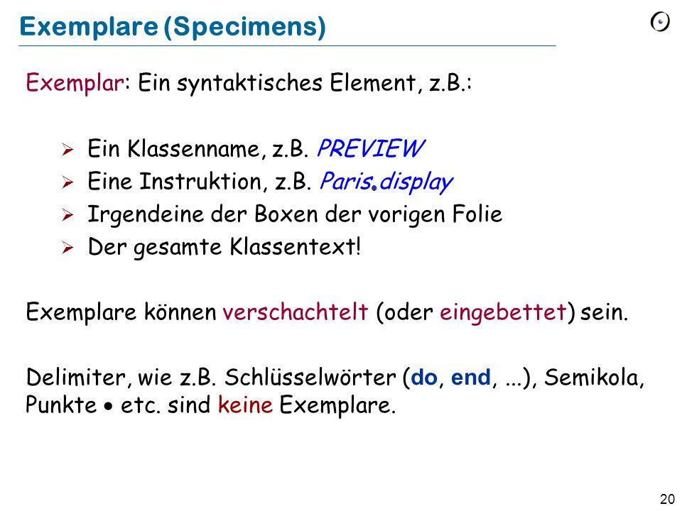 20 Exemplare (Specimens) Exemplar: Ein syntaktisches Element, z.B.:  Ein Klassenname, z.B. PREVIEW  Eine Instruktion, z.B. Paris  display  Irgende