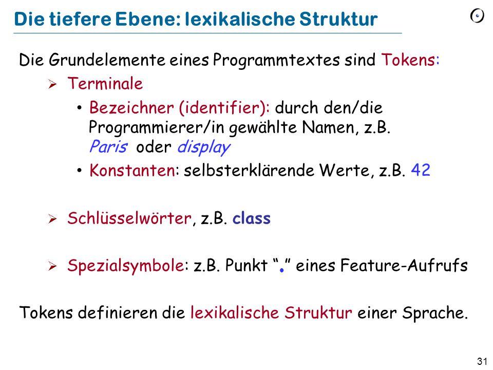 31 Die tiefere Ebene: lexikalische Struktur Die Grundelemente eines Programmtextes sind Tokens:  Terminale Bezeichner (identifier): durch den/die Pro