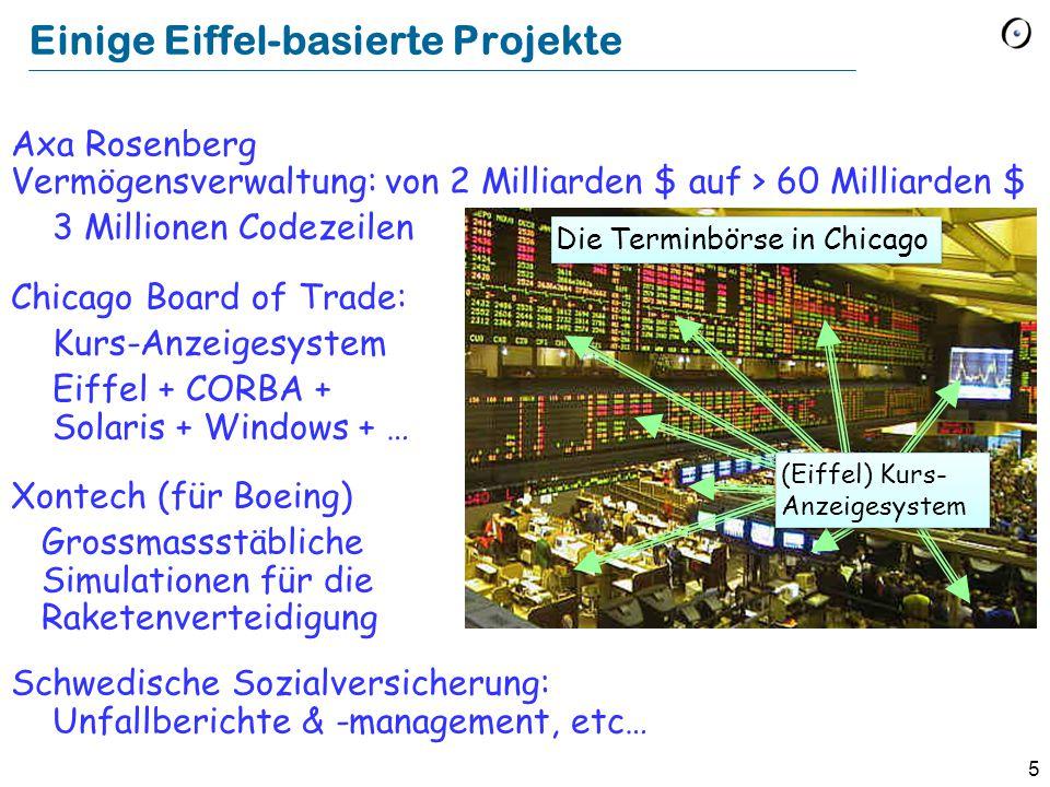 5 Einige Eiffel-basierte Projekte Axa Rosenberg Vermögensverwaltung: von 2 Milliarden $ auf > 60 Milliarden $ 3 Millionen Codezeilen Chicago Board of
