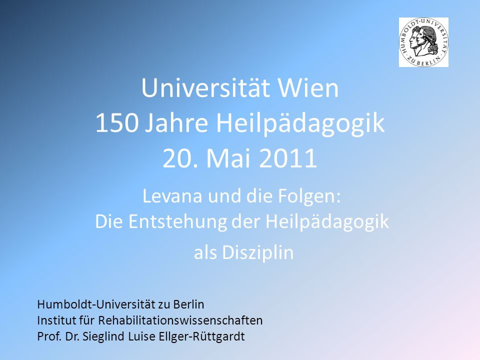 Universität Wien 150 Jahre Heilpädagogik 20.