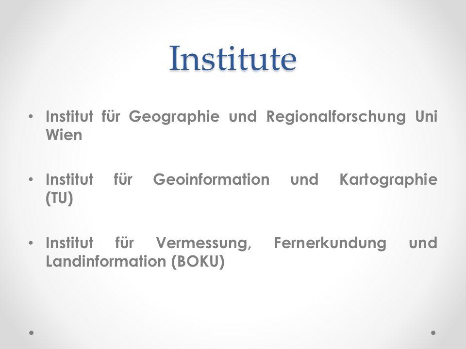 Institute Institut für Geographie und Regionalforschung Uni Wien Institut für Geoinformation und Kartographie (TU) Institut für Vermessung, Fernerkundung und Landinformation (BOKU)