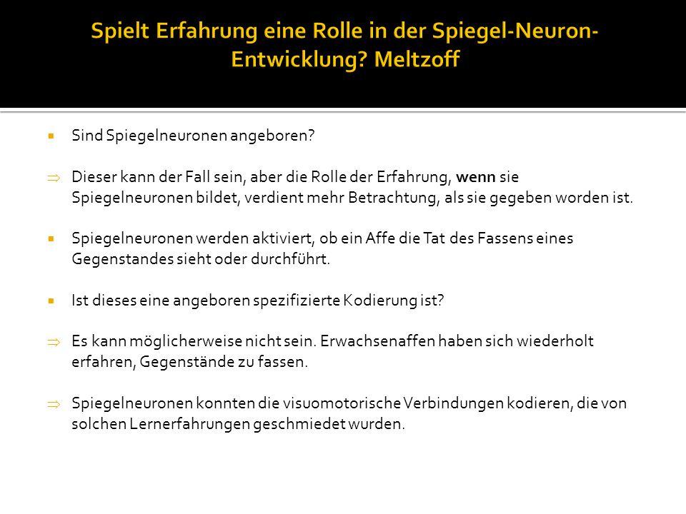  Sind Spiegelneuronen angeboren.