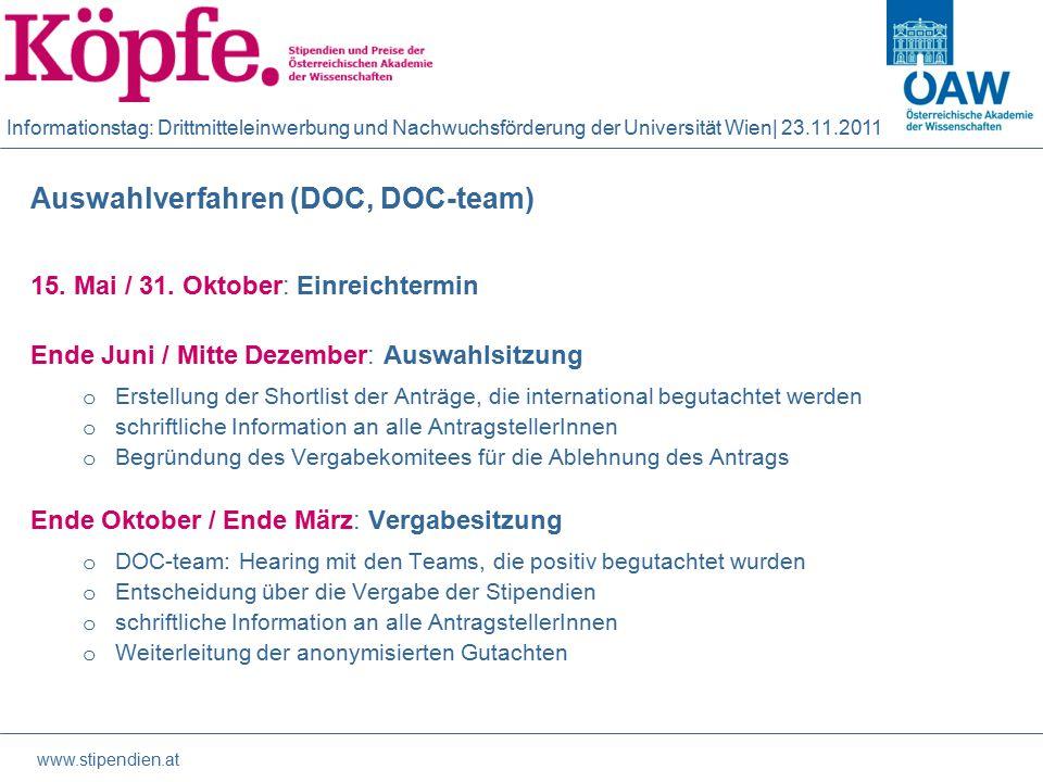 Informationstag: Drittmitteleinwerbung und Nachwuchsförderung der Universität Wien| 23.11.2011 Auswahlverfahren (DOC, DOC-team) 15.