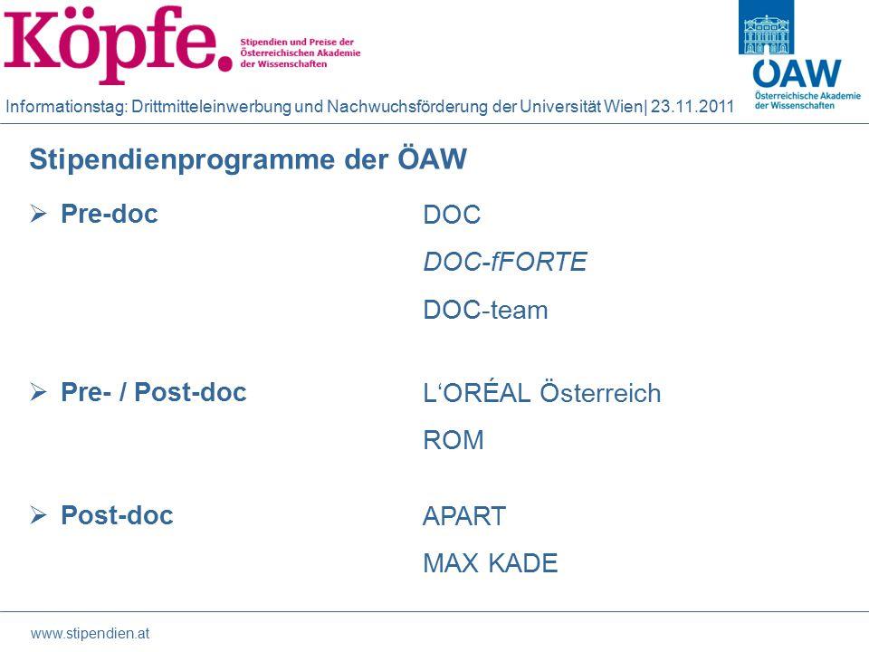 Informationstag: Drittmitteleinwerbung und Nachwuchsförderung der Universität Wien| 23.11.2011 Philosophie der Stipendienprogramme  Individualförderung d.h.