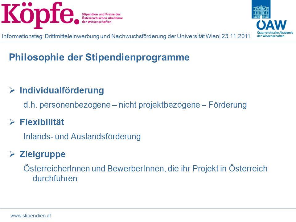 Informationstag: Drittmitteleinwerbung und Nachwuchsförderung der Universität Wien| 23.11.2011 Mobilitätsförderung  DOC mind.