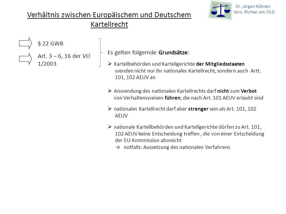Dr. Jürgen Kühnen Vors. Richter am OLG Verhältnis zwischen Europäischem und Deutschem Kartellrecht § 22 GWB Art. 3 – 6, 16 der VO 1/2003 Es gelten fol
