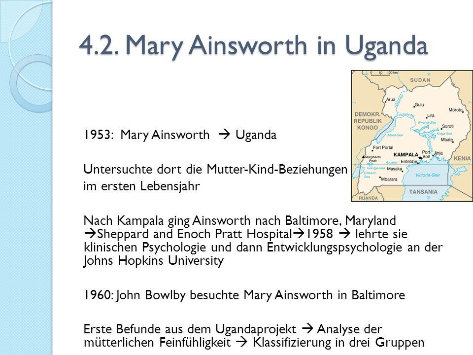 4.2. Mary Ainsworth in Uganda 1953: Mary Ainsworth  Uganda Untersuchte dort die Mutter-Kind-Beziehungen im ersten Lebensjahr Nach Kampala ging Ainswo