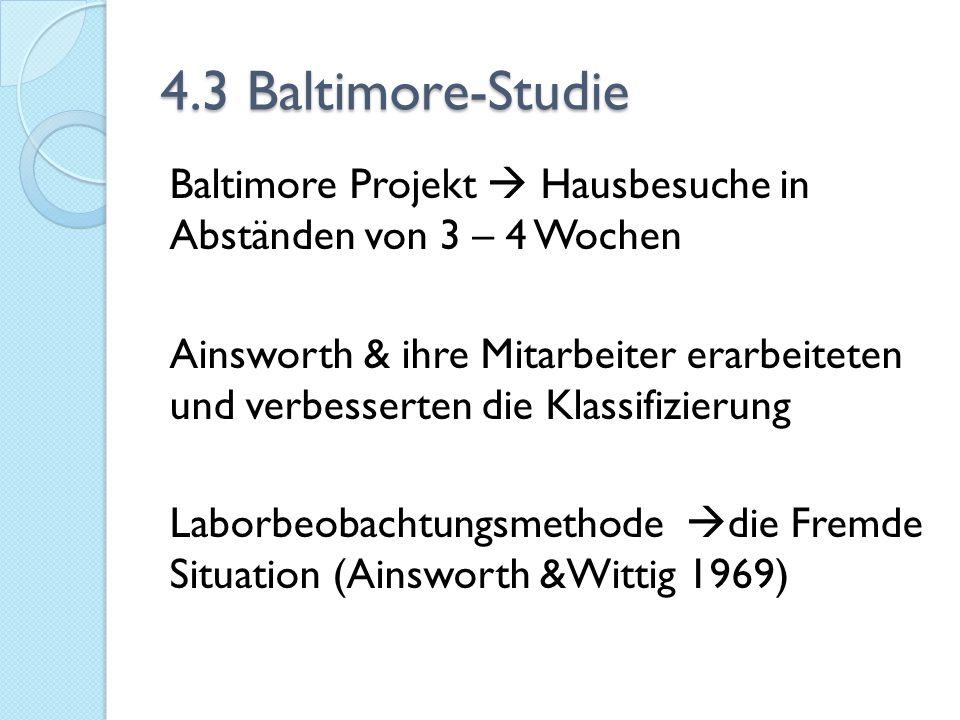 4.3 Baltimore-Studie Baltimore Projekt  Hausbesuche in Abständen von 3 – 4 Wochen Ainsworth & ihre Mitarbeiter erarbeiteten und verbesserten die Klas