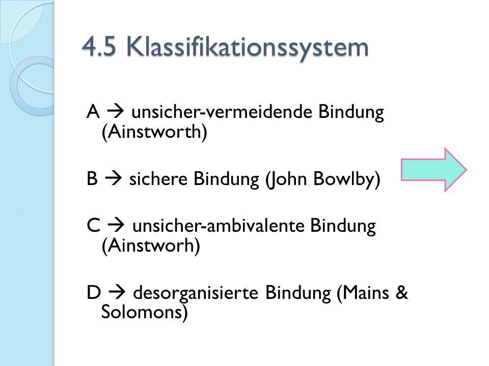 4.5 Klassifikationssystem A  unsicher-vermeidende Bindung (Ainstworth) B  sichere Bindung (John Bowlby) C  unsicher-ambivalente Bindung (Ainstworh)