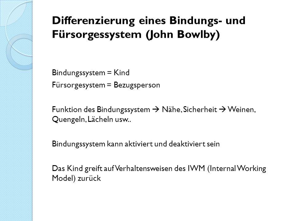 Differenzierung eines Bindungs- und Fürsorgessystem (John Bowlby) Bindungssystem = Kind Fürsorgesystem = Bezugsperson Funktion des Bindungssystem  Nä