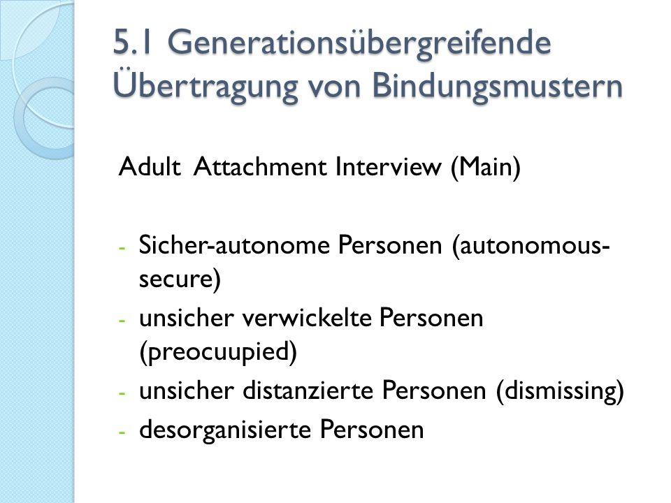 5.1 Generationsübergreifende Übertragung von Bindungsmustern Adult Attachment Interview (Main) - Sicher-autonome Personen (autonomous- secure) - unsic