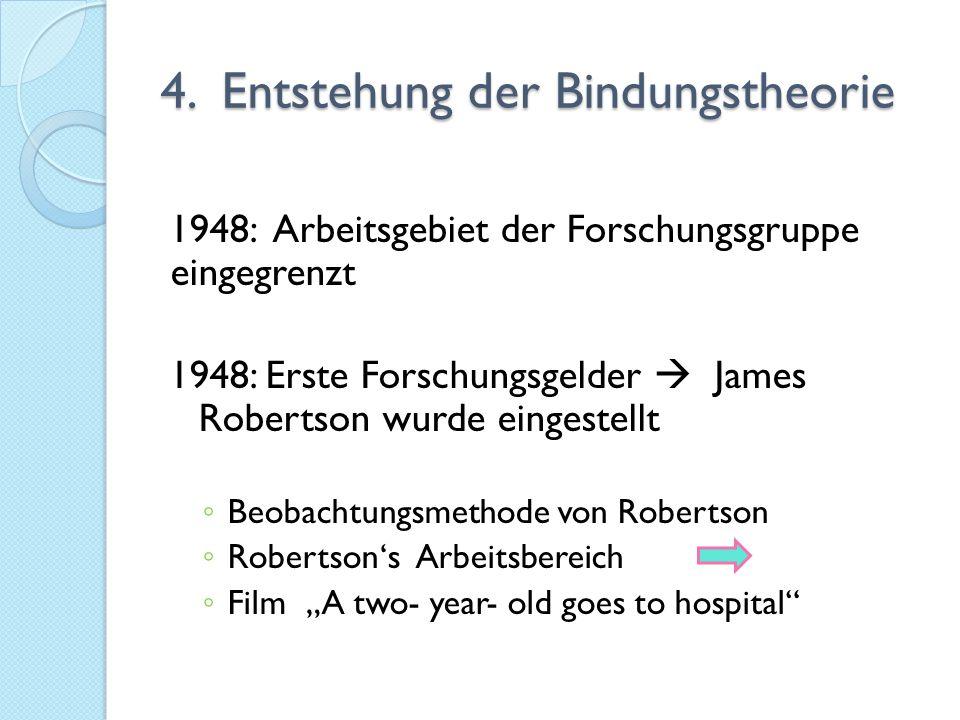 4. Entstehung der Bindungstheorie 1948: Arbeitsgebiet der Forschungsgruppe eingegrenzt 1948: Erste Forschungsgelder  James Robertson wurde eingestell