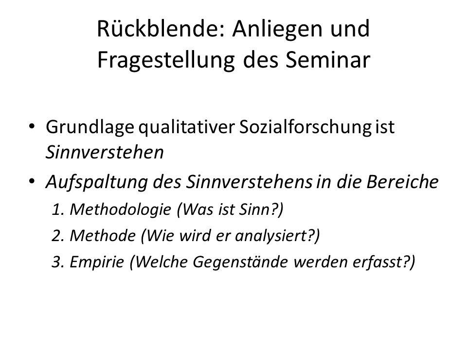 Rückblende: Anliegen und Fragestellung des Seminar Grundlage qualitativer Sozialforschung ist Sinnverstehen Aufspaltung des Sinnverstehens in die Bere