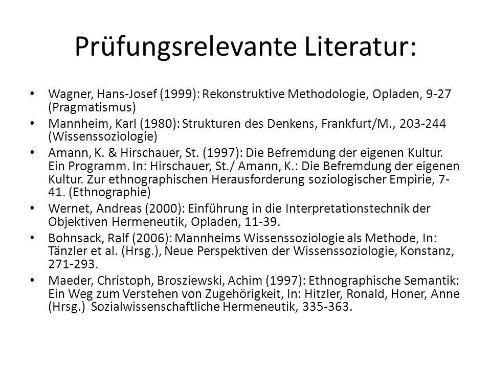 Prüfungsrelevante Literatur: Wagner, Hans-Josef (1999): Rekonstruktive Methodologie, Opladen, 9-27 (Pragmatismus) Mannheim, Karl (1980): Strukturen de