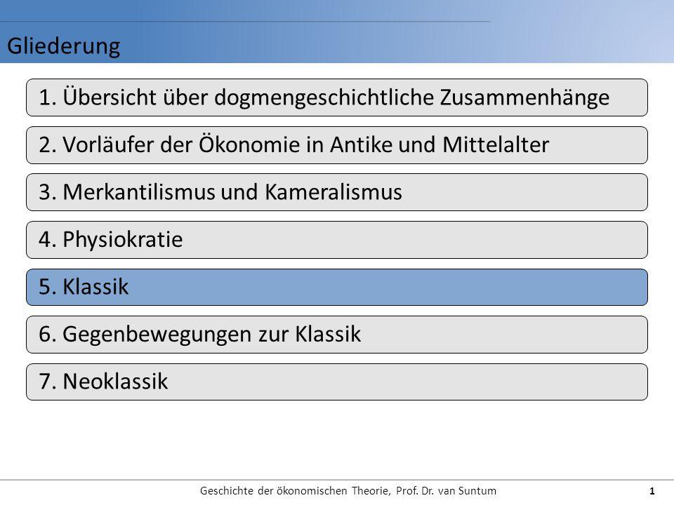 Gliederung Geschichte der ökonomischen Theorie, Prof. Dr. van Suntum 1 1. Übersicht über dogmengeschichtliche Zusammenhänge 2. Vorläufer der Ökonomie