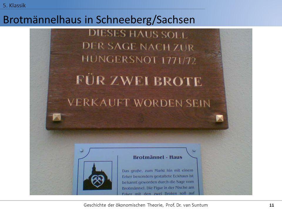 Brotmännelhaus in Schneeberg/Sachsen 5. Klassik Geschichte der ökonomischen Theorie, Prof. Dr. van Suntum 11