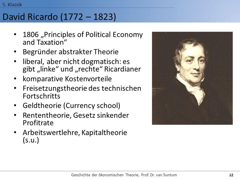 "David Ricardo (1772 – 1823) 5. Klassik Geschichte der ökonomischen Theorie, Prof. Dr. van Suntum 12 1806 ""Principles of Political Economy and Taxation"