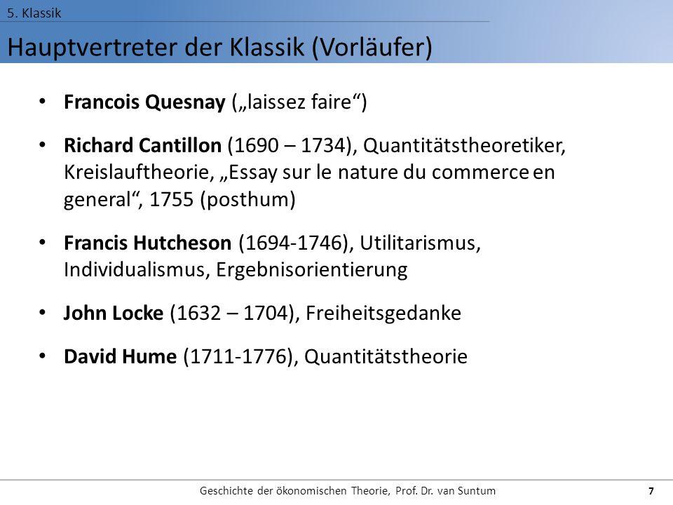 "Hauptvertreter der Klassik (Vorläufer) 5. Klassik Geschichte der ökonomischen Theorie, Prof. Dr. van Suntum 7 Francois Quesnay (""laissez faire"") Richa"