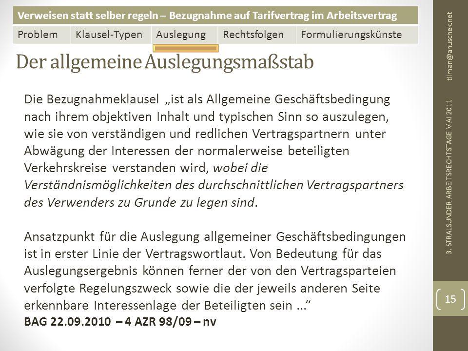 Verweisen statt selber regeln – Bezugnahme auf Tarifvertrag im Arbeitsvertrag ProblemKlausel-TypenAuslegungRechtsfolgenFormulierungskünste Der allgemeine Auslegungsmaßstab tilman@anuschek.net 3.